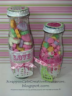 recycled Starbucks Frappuccino bottle to hold candy hearts or any other loose candy