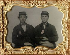 Lincoln Wide Awakes Tintype, 2 men with ribbons, 1 armed w/ pistol in Collectibles, Militaria, Civil War (1861-65), Original Period Items, Photographs | eBay