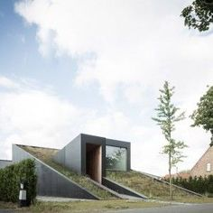 OYO's+House+Pibo+features+a+sloping+green+roof+and+split-level+interior