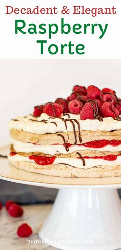 This Raspberry Torte is a decadent but achievable dessert that will impress your guests with delicious flavor and appeal!! Three layers of hazelnut meringue are sandwiched with a filling of cream, chocolate and raspberries to create an elegant dessert for that special occasion! #raspberrytorte #rasperries #baking #marcellinaincucina #torterecipe Raspberry Torte, Raspberry Recipes, Hazelnut Meringue, Cake Recipes, Dessert Recipes, Torte Recipe, Italian Cake, Elegant Desserts, Party Desserts