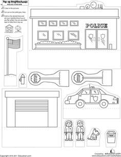 First Grade Paper Projects Worksheets: Pop-Up Neighborhoods: Police Station Community Workers, Community Helpers, Worksheets For Kids, Activities For Kids, Cardboard Crafts, Paper Crafts, Art Crafts, Diy Arts And Crafts, Crafts For Kids