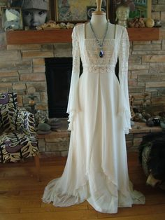Wedding dress Romeo juliet renaissance style bridal gown poet sleeves celtic lord of the rings bridal. $350.00, via Etsy.