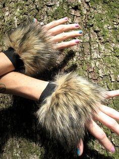 Furry FOx CUffs -- Faux Fur Wrisrt Cuffs -- Brown // Tan // Black -- Costume accessory Unisex -- animal fox cosplay festivals hula hoop
