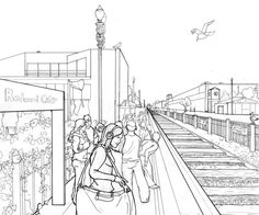 This one point perspective works better than others I have seen because it includes humans in the drawing which is a rare trait when it comes to perspective drawings. Despite that it also has a nice use of buildings and scales inside of this and the people help to show the 3D scale next to them. The vanishing point has been used effectively here too.
