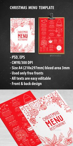 Christmas Menu Restaurant Template PSD, EPS #design Download: http://graphicriver.net/item/christmas-menu-restaurant/13510144?ref=ksioks