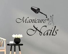 Wall Decal Manicure Vinyl Sticker Decals Beauty Salon Nails Hands Fashion Cosmetic Hairdressing Butterfly Home Decor Design Interior Home Nail Salon, Nail Salon Design, Nail Salon Decor, Salon Art, Salon Nails, Foil Business Cards, Nail Logo, Salon Signs, Flower Nail Designs