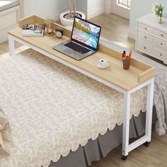 Overbed Table with Wheels, Mobile Desk with Heavy-Duty Metal Legs Super Sturdy and Stable Mobile Desk, Mobile Computer Desk, Overbed Table, Farmhouse Desk, Simple Desk, Small Space Organization, Office Organization, Writing Desk, Diy Furniture