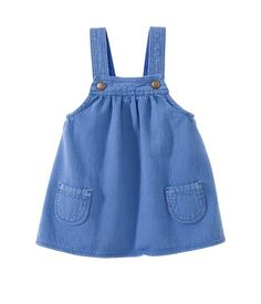Baby girl pinafore dress in overdyed striped serge