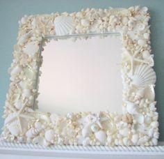 Beach Decor White Seashell Mirror -  Nautical Decor Shell Mirror, All White w Starfish  Pearls