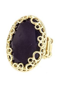 Dark Purple Oval Cocktail Ring