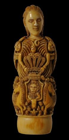 Rare carved Madura Khris handle of a European , fine carving similar to that seen in Goa. c/o Michael Backmon ltd UK
