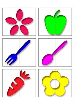 Половинки Preschool Learning Activities, Preschool Activities, Kids Learning, Free Alphabet Printables, Printable Preschool Worksheets, Colors For Toddlers, Homemade Baby Toys, Puzzle Crafts, Teaching Shapes