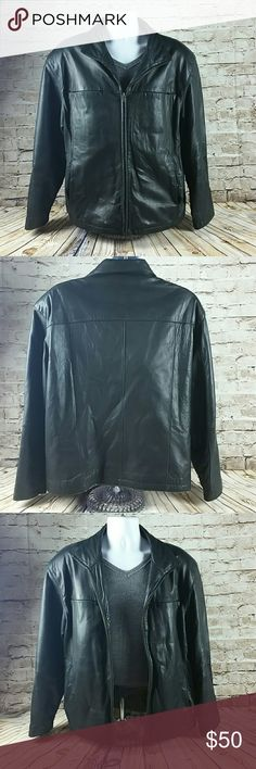 Mens Leather Jacket Mens Large Black Leather Jacket.  2 interior pockets, one right breast zipper pocket another lowe left cell pocket.  Soft black leather broken in leather.  No rips or snags.  Very small discoloration on both sleeves due to regular  wear. Proshield Jackets & Coats