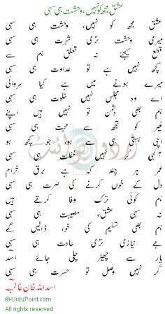 Asadullah Khan Ghalib Shayari - عشق مجھ کو نہیں وحشت ہی سہی