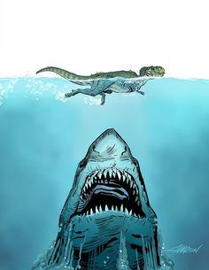 Shark about to eat a swimming T-rex. Shark Drawing, Dinosaur Drawing, Dinosaur Art, Jurassic Park, Jurassic World, Shark Pictures, Shark Photos, T Rex Tattoo, Shark Art