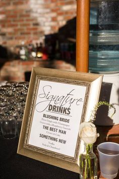 Love the idea of signature drinks. Etsy listing at https://www.etsy.com/listing/176490405/wedding-signature-drink-sign