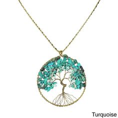 Blue Lapis Stone Eternal Tree of Life Brass Long Necklace (Thailand) - COMES IN DIFFERENT COLORS