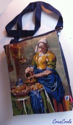 Tas Het Melkmeisje, gemaakt van geborduurd schilderij in combi met blauw skai www.creacrola.nl