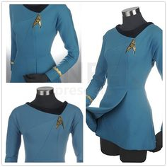 Star Trek Cosplay Female Duty Uniform Blue Dress Costumes                                                                                                                                                      More