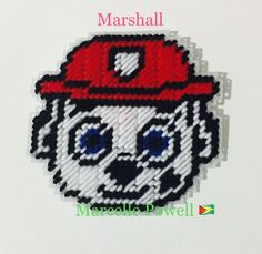 Marshall Paw Patrol Plastic Canvas Magnet by Marcelle Powell ❤️
