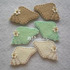 DOUBLE LAYERS Sea Shell Felt Applique (Light Brown - Mint Green ...