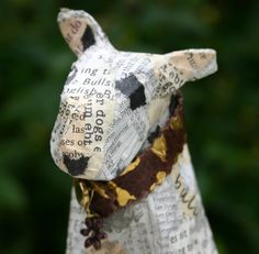 Small Papier Maché Bull Terrier with Gilded Leather collar