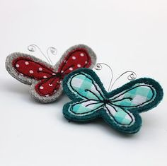 Embroidered Butterfly Brooch