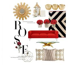 """Red and gold combination"" by nia-yemima on Polyvore featuring interior, interiors, interior design, home, home decor, interior decorating, Currey & Company, nanimarquina and Seda France"