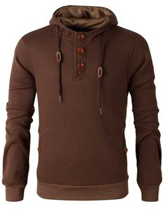 Henley Hoodie w/ Elbow Patches Brown