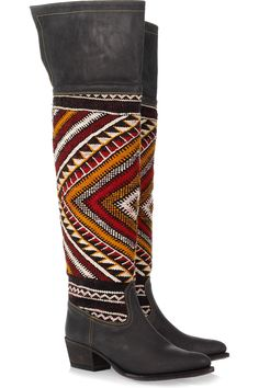 Hand-woven wool and brushed-leather thigh boots  by Cobra Society