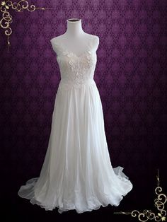 Whimsical Grecian Silk Chiffon Wedding Dress with Floral Lace Appliques   Tara
