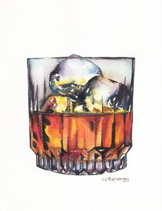 Love this watercolor painting from Ugallery. Scotch on the Rocks by JJ Galloway.