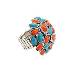 Orange and Teal Stretch Cocktail Ring http://www.inspiredsilver.com/ #InspiredSilver #ring #teal #orange