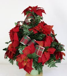 Christmas XL Artificial Red Poinsettia's w Plaid Ribbon Cemetery Flower Headstone Standard 3 -Inch Vase Grave Decoration by Crazyboutdeco on Etsy Cemetery Vases, Cemetery Decorations, Cemetery Flowers, Xmas Decorations, Vase Arrangements, Christmas Arrangements, Silk Flower Arrangements, Fruit Centerpieces, Red Christmas