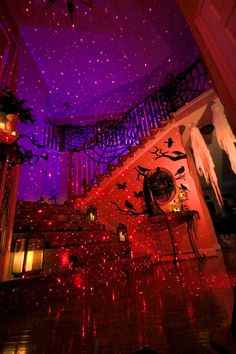 Looking to make your big day a halloween party to remember? Here are a few creative ways to host a Halloween transform your home into a haunted house in minutes with Lights! It's as easy as plug in, aim, and enjoy Halloween Room Decor, Casa Halloween, Image Halloween, Halloween Tags, Halloween Inspo, Scary Halloween Decorations, Halloween Birthday, Holidays Halloween, Halloween Lighting