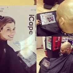 @mibarbershop Now you can text, send an email, watch a movie or get some work done while getting a quick cut and you don't have to get your device covered in hair. It's even great for kids. Devices keeps them preoccupied during hair cuts. #iCape #barber #barbershop #hairstylists #salon