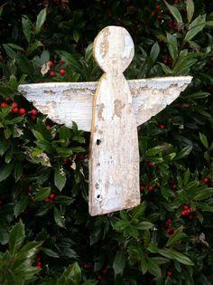Primitive Barnwood Angel Christmas Tree Topper sold by baldmanmarkings on etsy $25