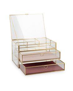 Gold & Glass Pink Velvet Three Tier Jewellery Box - New Ideas - jewellery