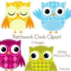 Patchwork Owls Clipart, Owls Clip Art - Commercial and Personal