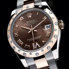 We love the beauty of this watch. Ladies 18kt rose gold & stainless steel Oyster Perpetual Datejust by Rolex with a chocolate dial, Roman markers with diamond set VI, and 24 diamond dome bezel on an Oyster bracelet. www.brockhausjewelry.com