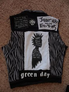 """safety-pinned-and-sick: """" finally done with my vest! All the patches are hand made and the zebra fabric was an old skirt, and i got the actual vest from a thrift store. Crust Punk, Punk Jackets, Battle Jacket, Punk Outfits, Fashion Project, Diy Clothing, Vests, Thrifting, Sick"""
