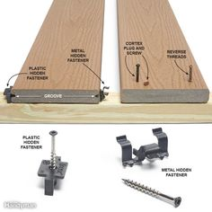 Deck Board Fastening Options - Screwing through the face of the boards is by far the fastest, easiest and most structurally sound method of fastening deck boards. Deck Footings, Deck Maintenance, Deck Building Plans, Laying Decking, Modern Deck, Deck Posts, Deck Construction, Diy Deck, Backyard Decks