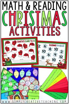 These Christmas math and reading activities and reading activities are perfect for your 1st grade or 2nd grade classroom! Find ideas for Christmas math centers, games, crafts, and bulletin board displays. Use Christmas main idea passages and a Christmas craftivity for December fun! Also includes puzzles, 12 Days of Christmas Free worksheets and freebies!