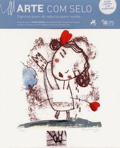 """Evelina Oliveira, """"Coleção Arte com selo"""" (art and stamp collection) screenprint 28 x 25 cm, 2012. Limited edition of 200 © CPS"""