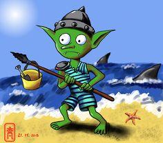 """Inspiré de la chanson du Naheulband: """"C'était un petit gobelin, qui s'en allait à la plage. Mais il savait pas nager, et il y avait des requins. Plouf, plouf! le gobelin, il s'est noyé dans les vagues. Miam, miam! dit le requin, tu finis dans mon oesophage. Voilà ce qui arrive si t'es pas sage!"""""""