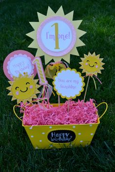 Happy Birthday I am one Sunshine centerpiece by PoshBoxParties