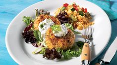 Curried chickpea croquettes with yogurt sauce Fish Cakes Recipe, Fish Recipes, Seafood Recipes, Dog Food Recipes, Vegetarian Recipes, Healthy Recipes, Camping Recipes, Healthy Foods, Keto Recipes