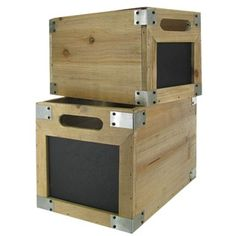 Incroyable Natural Wood With Black Chalkboard Boxes Make For A Great Storage System.  The Unfinished Look