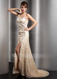 Mother of the Bride Dresses - $185.99 - A-Line/Princess One-Shoulder Sweep Train Charmeuse Lace Mother of the Bride Dress With Beading Split Front (008005973) http://jjshouse.com/A-Line-Princess-One-Shoulder-Sweep-Train-Charmeuse-Lace-Mother-Of-The-Bride-Dress-With-Beading-Split-Front-008005973-g5973