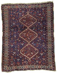 A charming Antique small Khamseh tribal rug loaded with birds! Khamseh is the name of a confederation of five nomadic tribes of different origins who live in southern Persia near the city of Shiraz. T